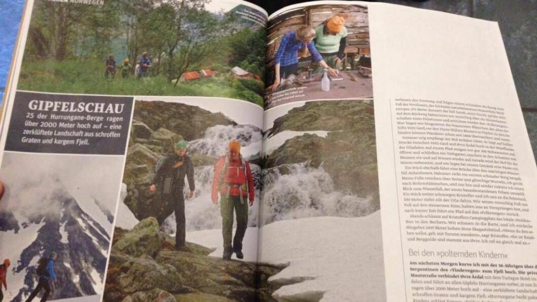 ÅTTE SIDER: Tyske Outdoor Magazine spanderte åtte sider på turmoglegheiter i Årdal i siste nummer. Foto: Torunn T. Laberg