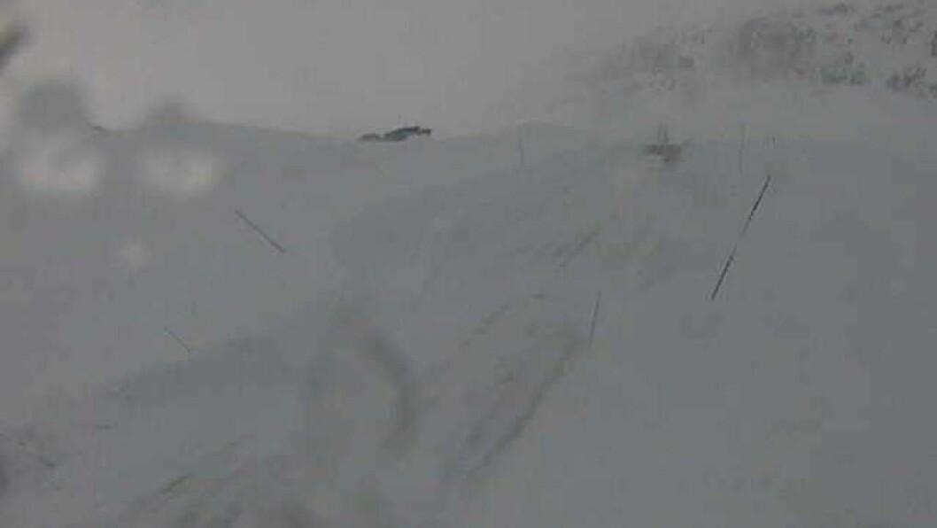 TYIN: Slik såg det ut over Fv 53 Tyionosen klokka 11.34 måndag. Vegen er open for trafikk. Foto: Statens vegvesen/ Webkamera