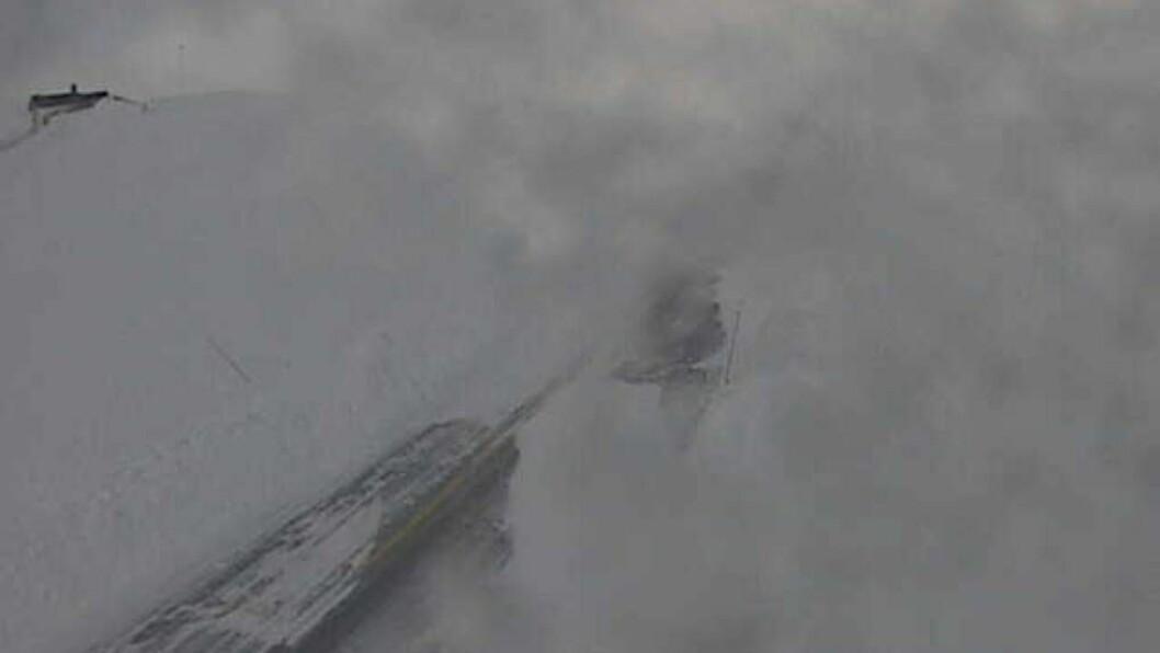 UVÊR: Slik ser det ut på Tyinosen på Fv 52 måndag klokka 9.30. Foto: Statens vegvesen/ webkamera