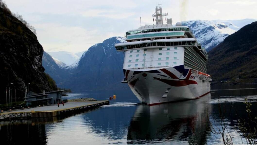 FEKK IKKJE STØTTE: Aurland Hamnevesen fekk ikkje støtte av Enova til bygging av landstraum til cruiseskipa. Foto: Jan Christian Jerving (Arkiv).