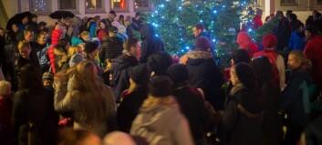 Sjå bileta frå tenninga av julegrana
