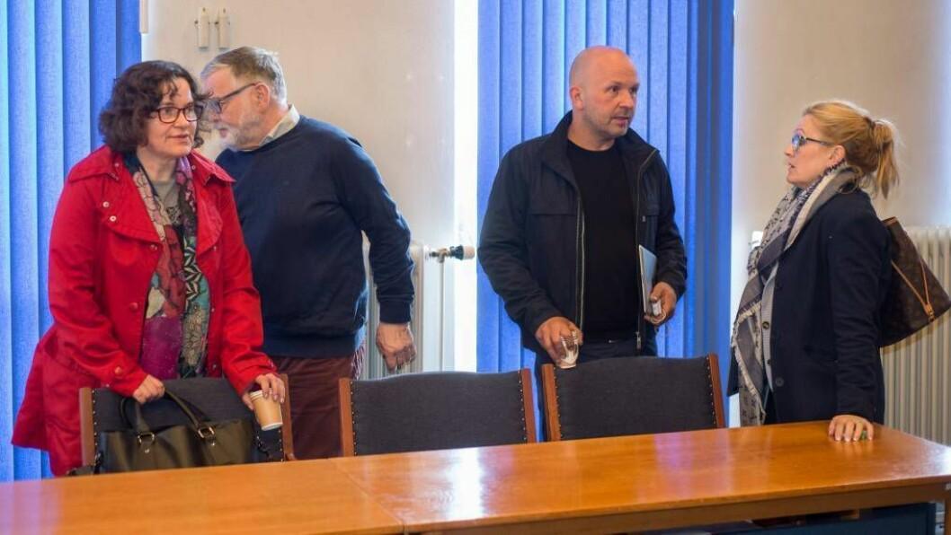 SKUFFA GJENG: Karin Vikane (H), Christen Knagenhjelm (V), Idar Reuss Kollsete og Rita Navarsete (begge Frp) konstanterer at den samla fronten for å auke vegpotten ikkje nådde fram.