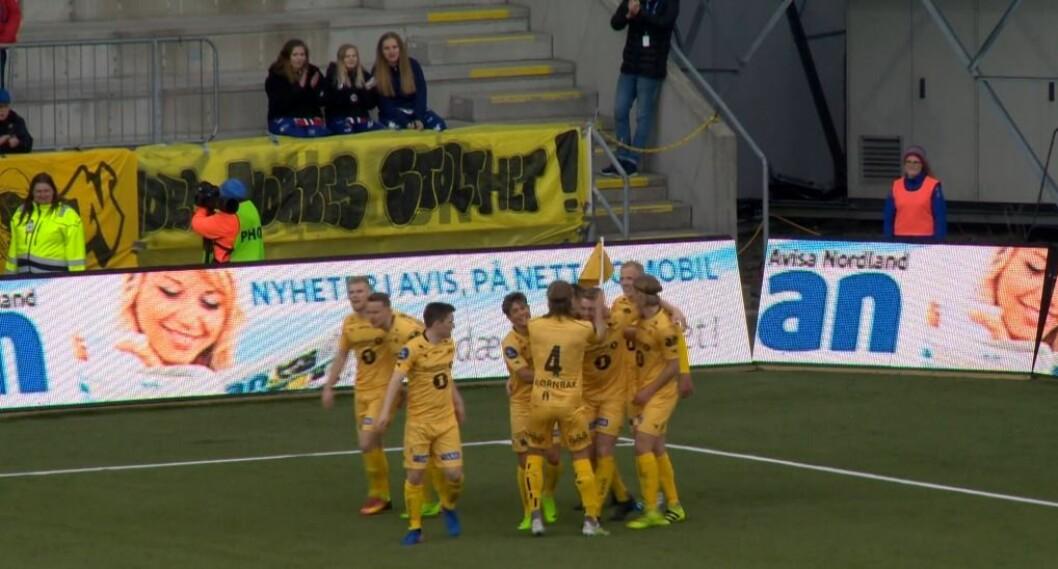 NY SKÅRING: Kristian Fardal Opseth skåra eit flott mål på ein kontrollert volley då Bodø/Glimt tok sin sjette siger for sesongen. Foto: skjermdump.