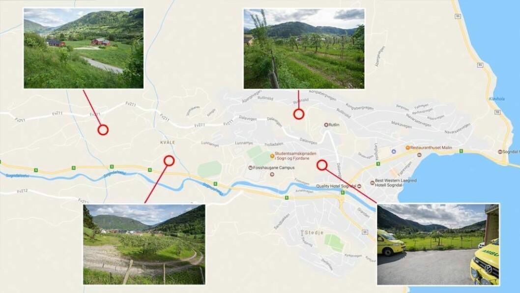 MÅ BESTEMME SEG: Om to veker får kommunestyret i Sogndal desse fire alternativa å velje mellom når dei skal bestemme plassering av ny sentrumsbarnehage. Illustrasjon: Halvor Farsund Storvik/Google Maps