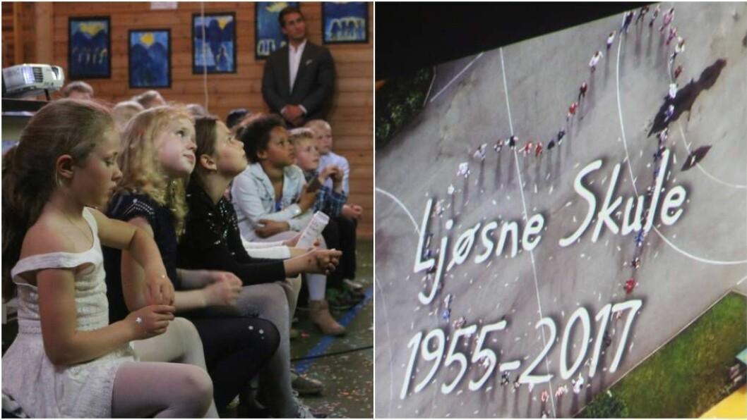SISTE FEST: Elevane stod - festtradisjon tru - for underhaldninga på programmet då siste festen på Ljøsne skule vart arrangert tysdag. Alle foto: Ole Ramshus Sælthun