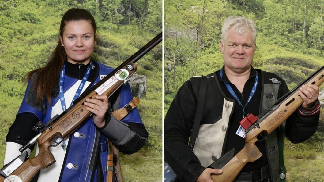GOD SKYTING: Kjersti Fagerlund og Gunnar Brevik frå Tønjum skyttarlag i Lærdal er blant fleire skyttarar frå Sogn som har gjort det skarpt på Landsskyttarstemnet som no pågår i Førde.