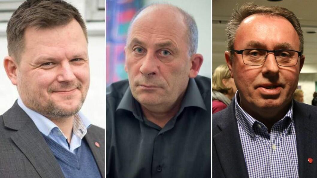 Ap-ordførarane Jon Håkon Odd, Jarle Aarvoll og Arild Ingar Lægreid.