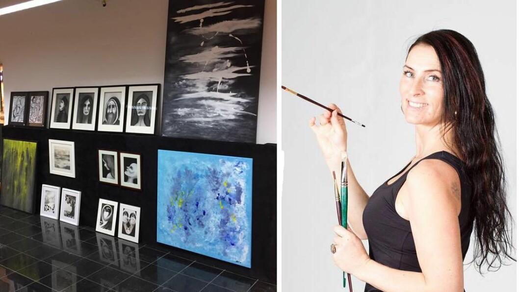 STILLER UT: I morgon, fredag, kan du sjå den nye utstillinga til Monica Hauge Fredheim på Kafé Krydder i Sogndal. Biletet til venstre er frå ei utstilling i fjor.