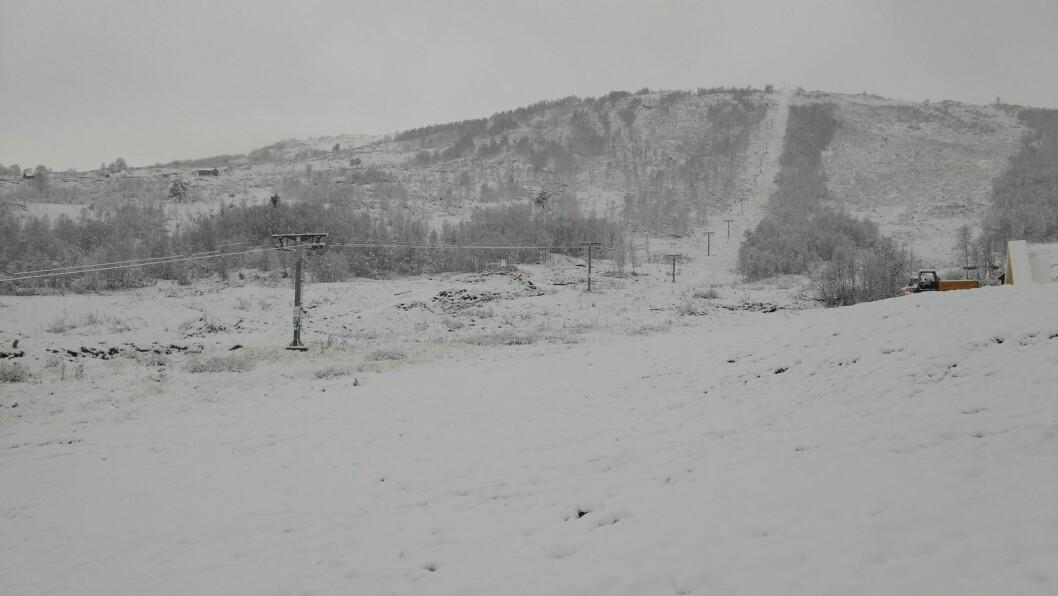 KVIT GLEDE: Slik såg det ut i Rindabotn i Sogndal skisenter førre veke. Sidan har det skifta mellom regn og snø, utan at det har gått særleg ut over optimismen til skisenteret.