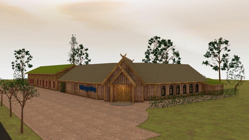 NYE VIKINGHUS: Til neste år skal mellom anna dette bygget stå ferdig, som med servicefunksjonar og ein butikk opnar høvet til å driva vikinglandsbyen heile året.