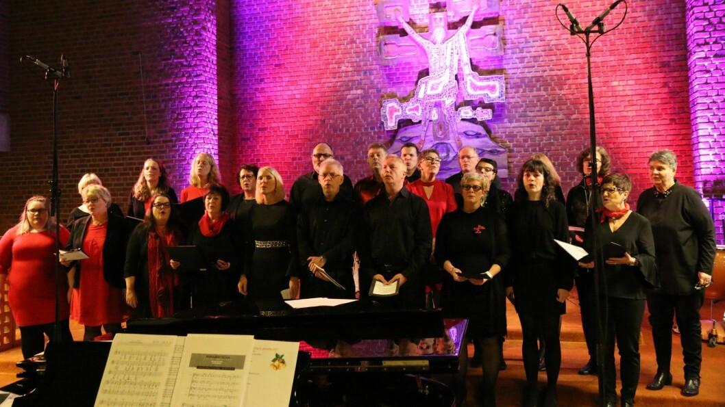 JUBILEUMSÅR: Årdal Gospelkor vert 25 år i 2018. Her frå siste framsyninga deira før jubileumsåret, under julekonserten i Farnes kyrkje.