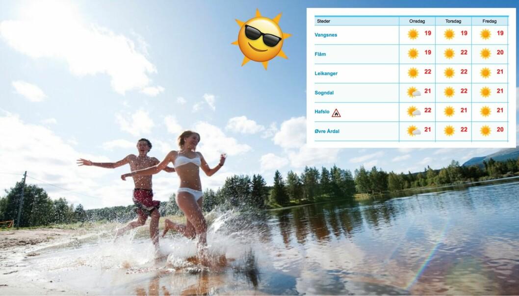SOL, SOL, SOL: Ikkje ein regndråpe i sikte og skyhøge temperaturar, det er utsiktene for den neste veka i Indre Sogn. Fleire mai-rekordar kan bli sletta.