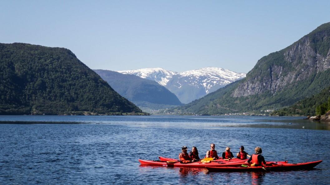KURS: I Dag var det 6 kajakkar å sjå på fjorden. På hausten var det nok ein god del fleire då det er tida dei fleste tar slike kurs.