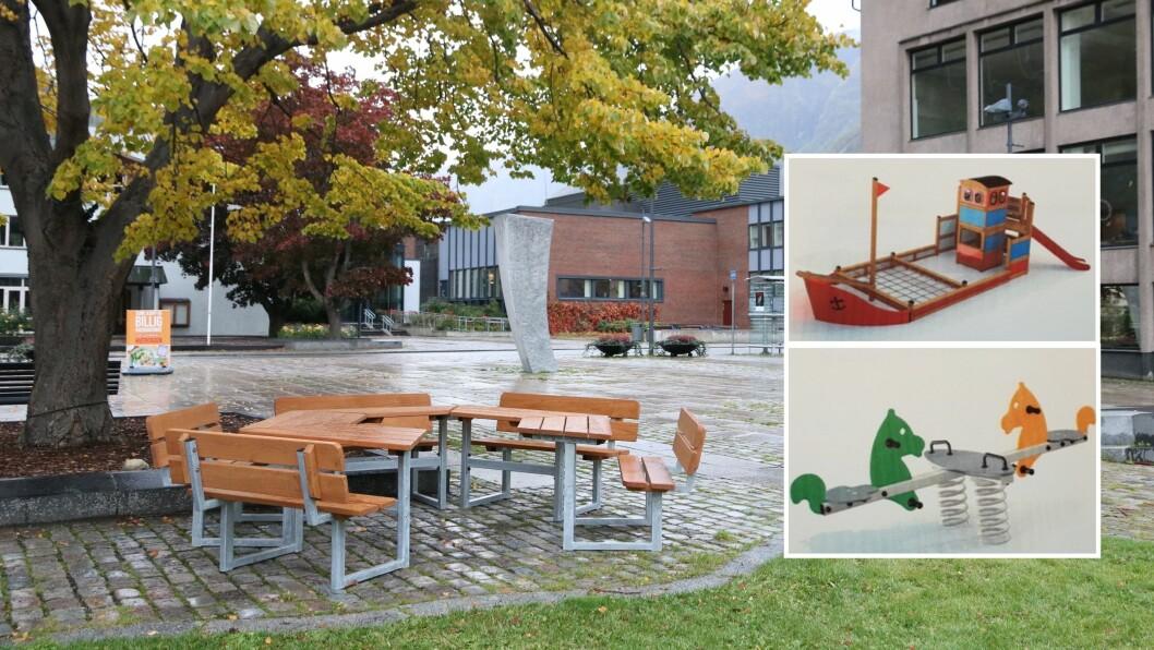 LØFT FOR TORGET: To nye benkar, ei trampoline, ei vippe-disse og ein leikebåt skal bli sett opp på torget på Årdalstangen.