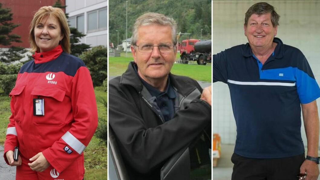 SKATTELISTENE: Wenche Eldegard, Årdal, Jarle Offerdal, Lærdal, og Per Steinar Melås, Leikanger, er blant dei med høgst inntekt i Indre Sogn i 2017.