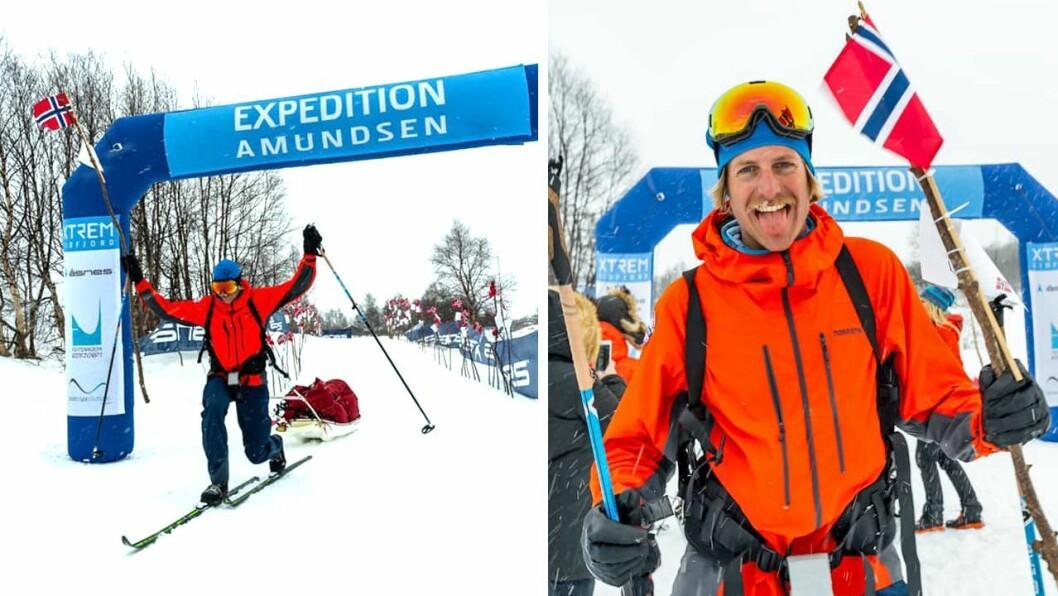 JUBEL: Etter over eitt døgn på ski over Hardangervidda var det Gjermund Nordkar som trakk den 40 kilo tunge pulken først over målstreken.