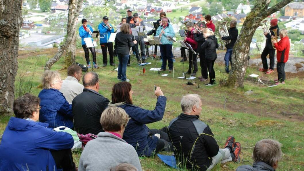 VARME TONAR: Musikklaget i Lærdal sørga for god stemning på Mjølkeflaten
