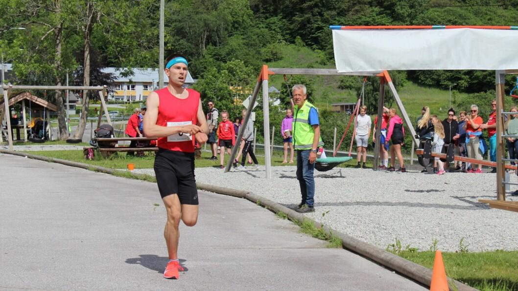 VINNAR: På tida 31.32 var Geir Steig over målstreken med konkurrentane langt bak seg.