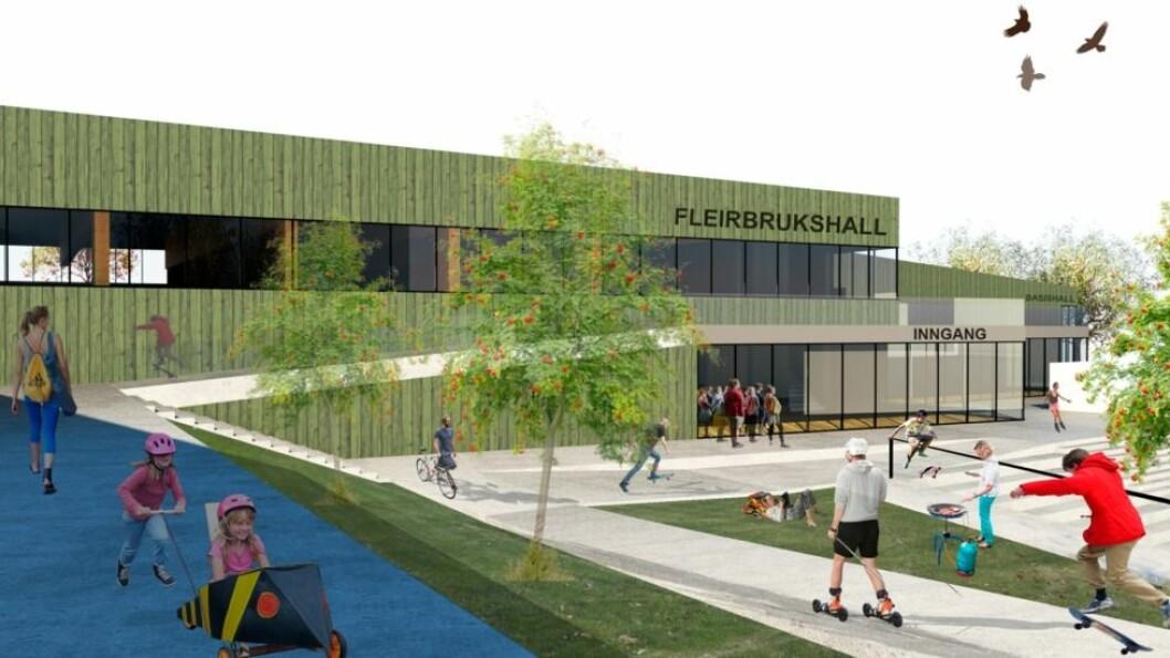 ETTERLENGTA: Idretten i Sogndal har etterlyst meir boltreplass. Dei to neste åra er det planar om å gjera noko med plassmangelen. Denne fleirbrukshallen er planlagt mellom Kvåle skule og den gamle idrettshallen.
