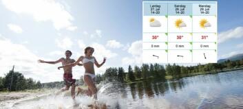 Varslar temperaturar over 30 grader til helga: Sjekk din kommune