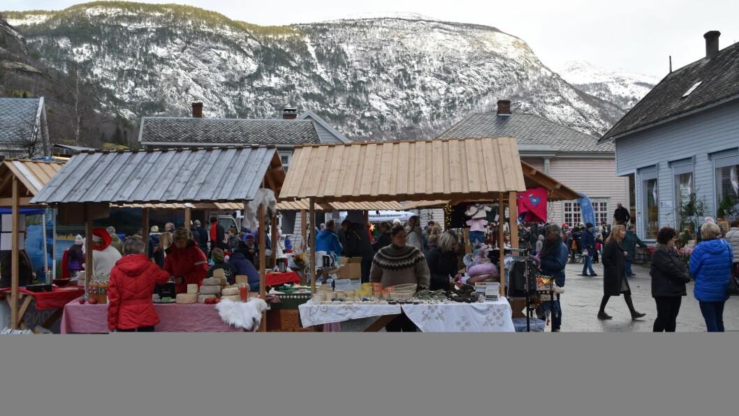 MØTEPLASS: Haldeplassen er heim for Lærdalsmarknaden kvar sommar, men no vil kommunen skapa ein heilårsmøteplass i form av ein utandørs kunstutstilling.