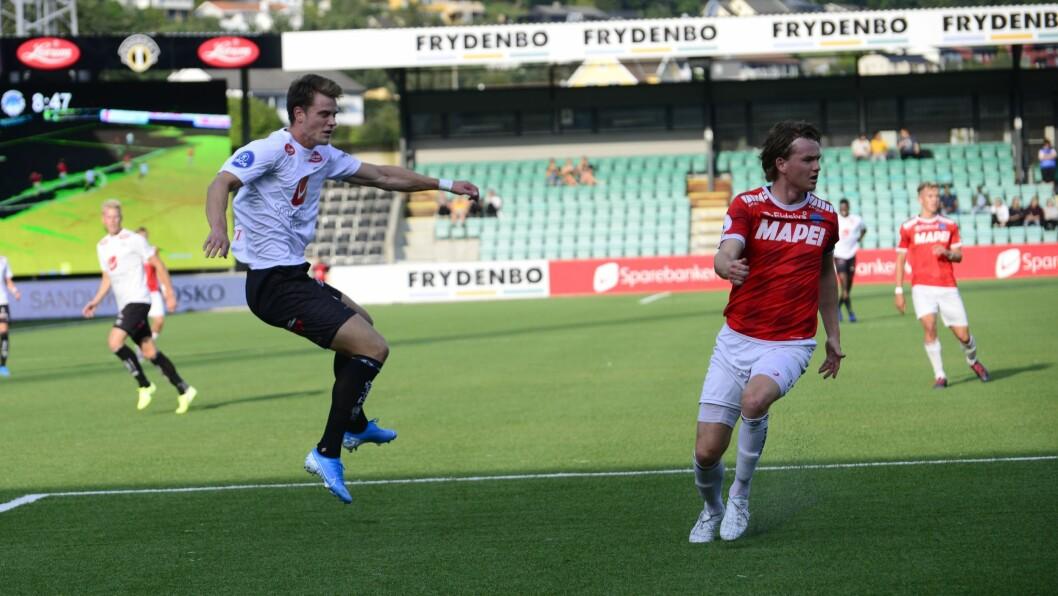 AVGJORDE: Kraftspissen Kristoffer Hoven debuterte for Sogndal, og avgjorde kampen frå straffemerket.