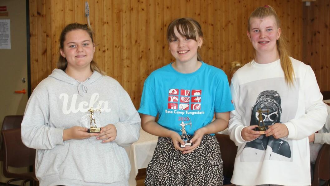 Topp tre i jenteklassen. F.v. Iselinn Fosse Haveland, Maia Wesenlund Hjønnevåg og  Kathe B. Haveland.