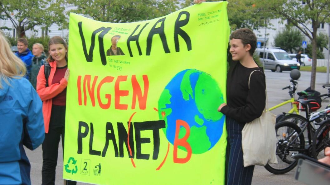 FARGERIKE: Folkehøgskulen i Sogndal har brukt dagen til å lage store fargerike plakatar som dei kom marsjerande inn i sentrumsparken med for «Klimabrølet» . (Foto: Janne Merete Bøyum)