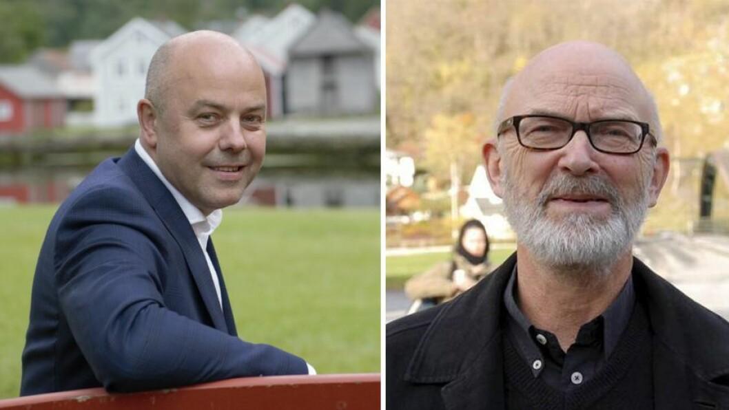 FELLES PLATTFORM: Audun Mo (Ap) og Jon Olav Fretland (SV) er samde om eit utkast ei politisk plattform.