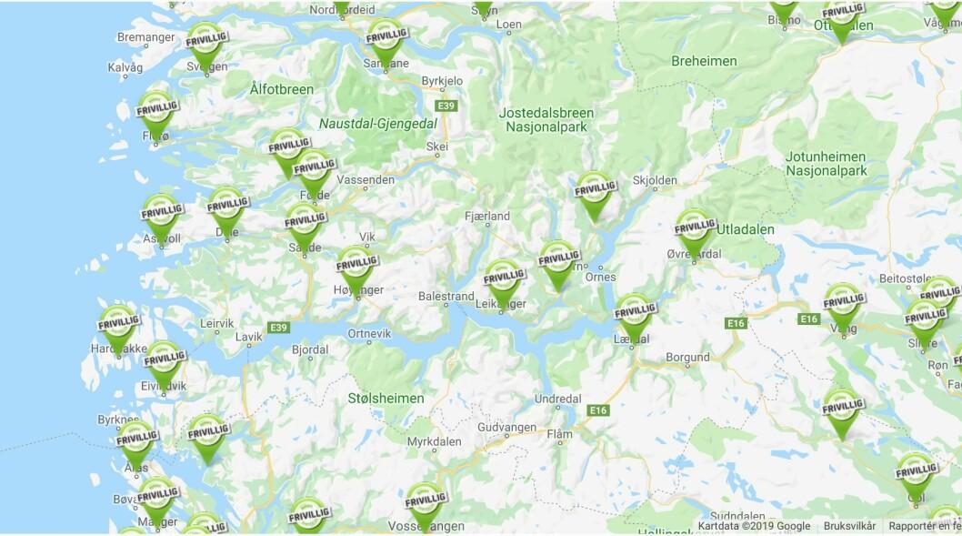TALANDE KART: Frivilligsentralane er godt representerte på norgeskartet. Slik vert det ikkje nødvendigvis i framtida.