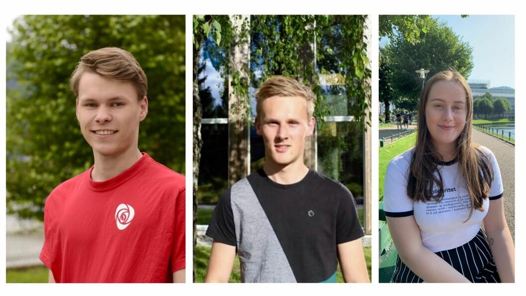 (f.v) Egil Natvik Vestrheim, Jørgen Lomheim Tang og Aasa Fredriksen Grønvold er født i 2000 eller seinare og kome med i kommunestyret.