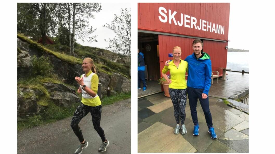 Linn Dyveke Wilberg i aksjon (t.v). Vinnar av dameklassen Dyveke Wilberg, og vinnar av herreklassen Torbjørn Grimen.(t.h)