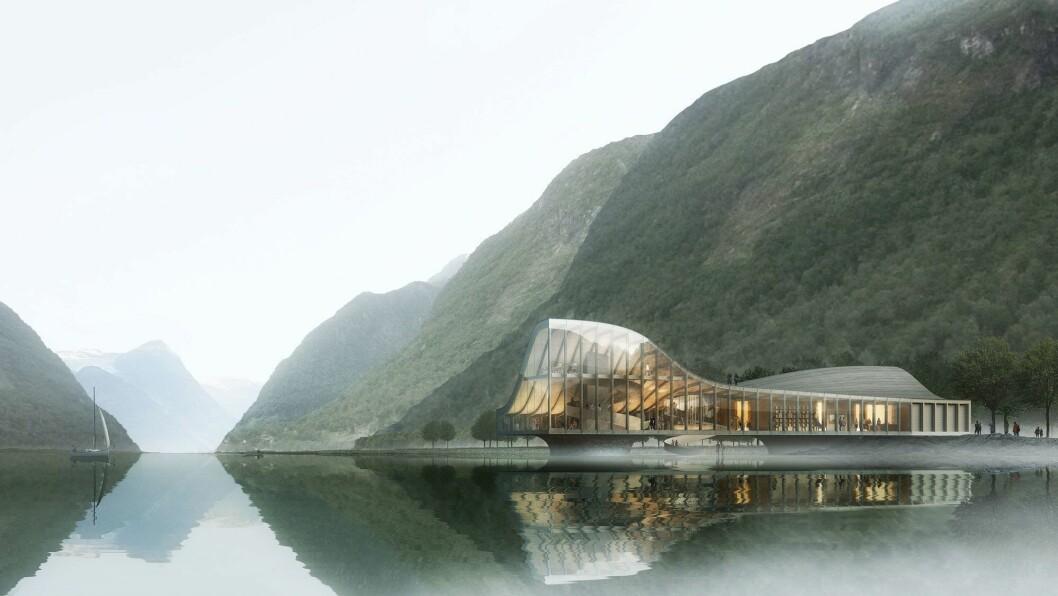 ATTRAKSJON: Målet er at Marheim fjordsenter skal bli ein attraksjon som kan lokka mellom 50.000 og 100.000 turistar i året til Fjærland.