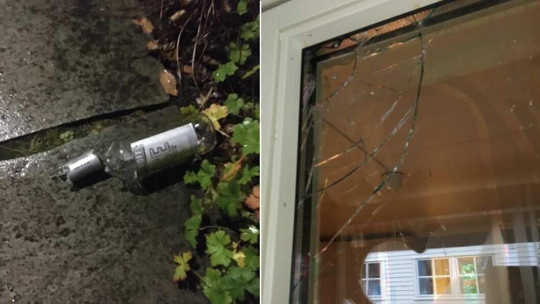 LITE KJEKT: Nokon prøvde å kasta ei flaske med Smirnoff Ice gjennom kjøkenvindauget til Anna Majewski. Måndag politimelde ho hærverket.