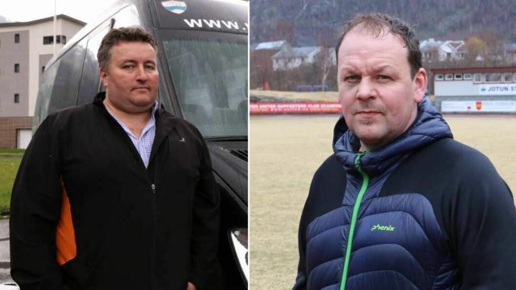 STEILE FRONTAR: Fotballen i Årdal er ikkje einig med seg sjølv om den beste vegen vidare etter helgas opprykk. Leiar Henrik Rønningen i Jotun (t.v) og avtroppande Årdal FK-trenar Ivan Øy.