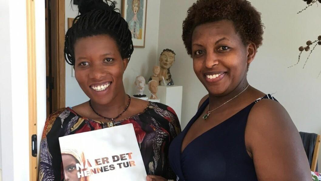 GLAD FOR Å BLI SPURT: Irene Uwamahoro og Yvonne Nshimirimana er glad for å bli spurt om å delta i TV-aksjonen. I fjor var dei assistentar. I år er dei ekspertar.