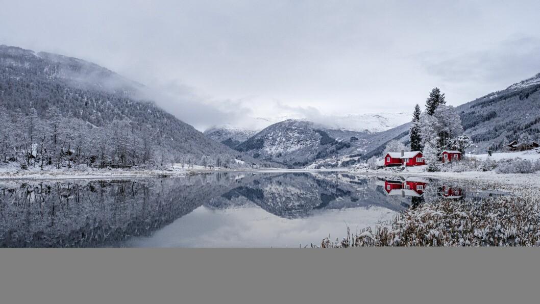 FYRSTE SNØFALL:  Fotograf Anders Løbø Navarsete greip sjansen og køyrte opp til Sogndalsdalen for å ta dette biletet då fyrste snøfallet traff Sogndal i denne veka.