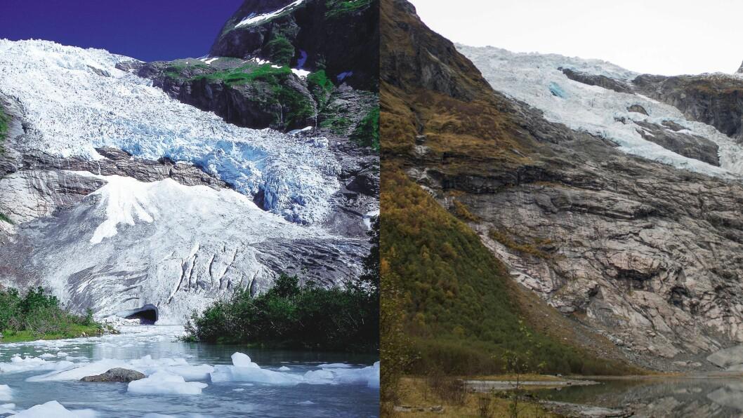 STOR SKILNAD: Mykje har skjedd med Bøyabreen på 22 år. Breen har minka betrakteleg sidan 1997 (t.v) og fram til 2019(t.h).