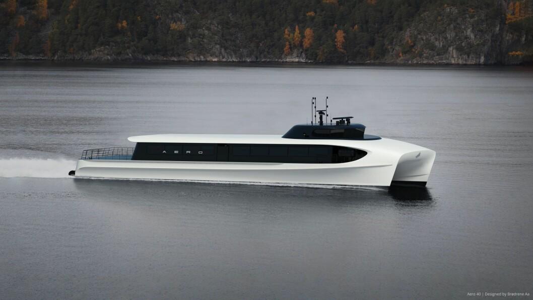 VISJON FOR FRAMTIDA: Hurtigbåt-konseptet til Brødrene Aa i Hyen er designa for å kunna gå på både batteri og hydrogen. Men enno er det uvisse knytt til om teknologien har kome langt nok.