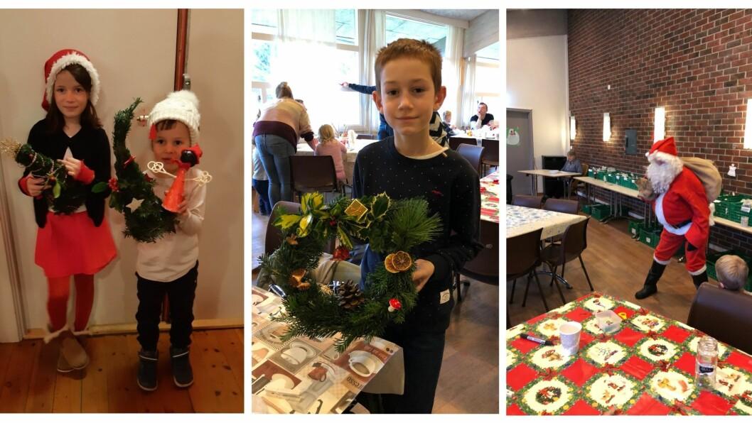 Både unge og vaksne kreative folk samlast for å lage flott julepynt.