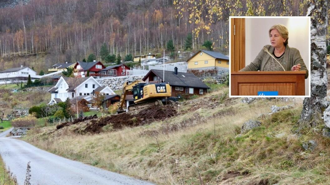 SØREIDE: Rådmanne i Høyanger kommune,Kjellaug Brekkhus, trur kommunen jobbar riktig for å få seld dei kommunale tomtene.