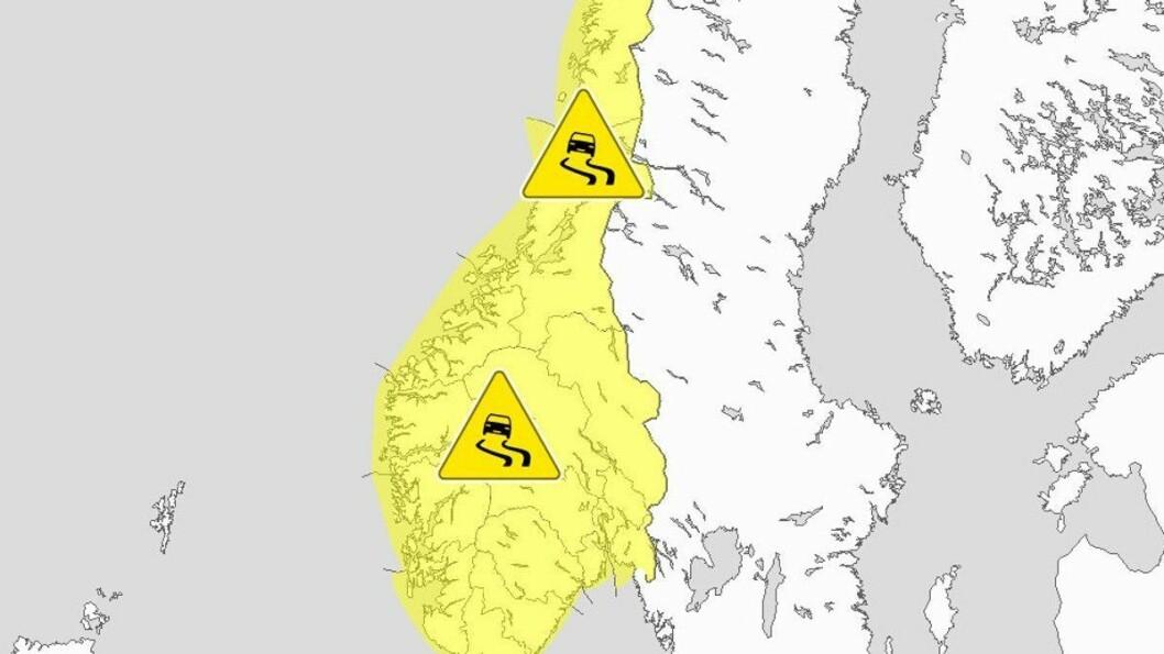 GLATTE VEGAR: Meteorologisk institutt har sendt ut farevarsel om is og glatte vegar til heile landet måndag.