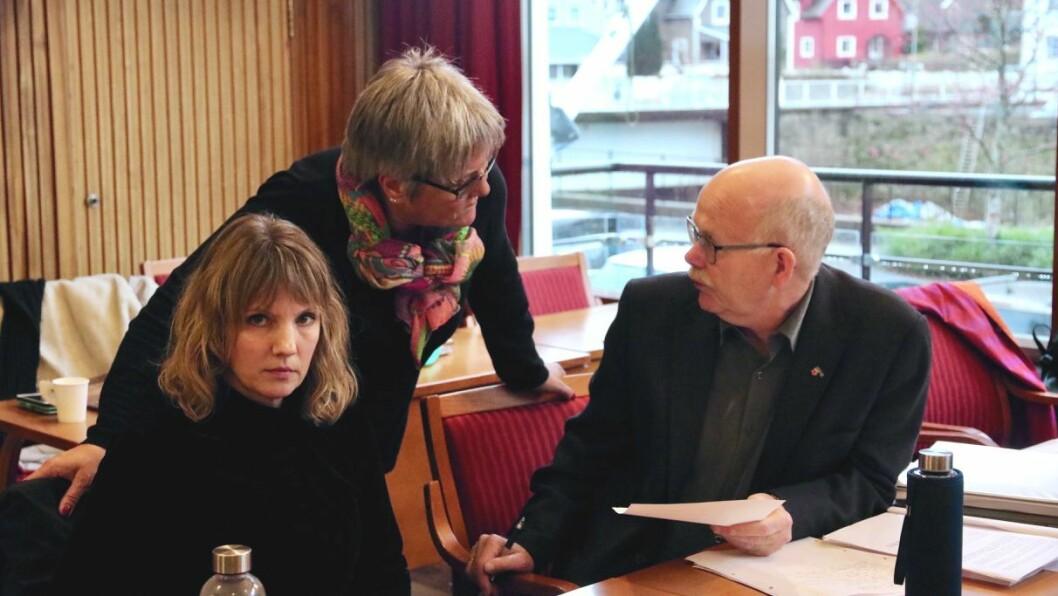IKKJE STØTTE: Sosialistisk Venstreparti og Raudt vann ikkje fram med å få dei andre partia med på forslaget om å ikkje la barnetrygda bli rekna som inntekt for sosialhjelpssmottakarar. Frå venstre: Tanja Strandheim (SV), Randi Aven (R) og Einar Rysjedal (R).