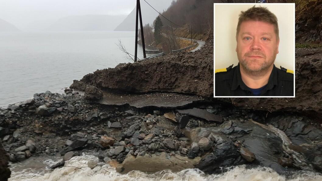 STORE SKADAR: Det store sørperaset har gjort store skadar på fylkesvegen mellom Feios og Fresvik. Omlag ti meter med veg er skylt vekk, opplyser Statens vegvesen.