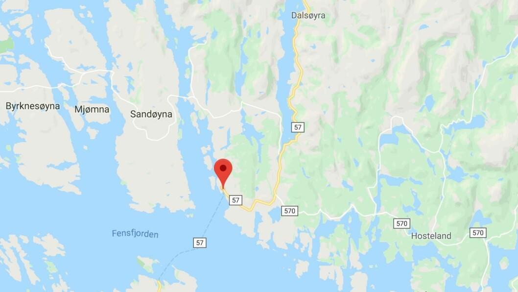 ULUKKE: Ein person hamna i ei klemulukke i Sløvåg onsdag morgon.