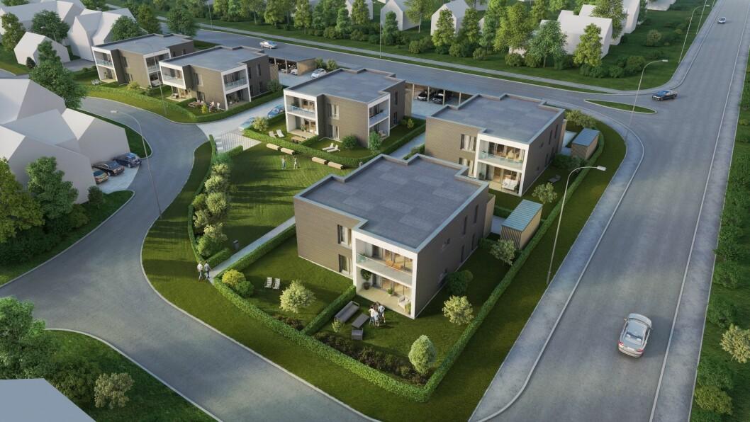 SLIKE: Illustrasjonen er frå eit tilsvarande utbyggingsprosjekt av typen MyCube, som Nordbohus Sogn AS føreslår å byggje i Vadheim. MyCube er eit modulbygg som vert levert av JST Bolig AS på Fagernes.