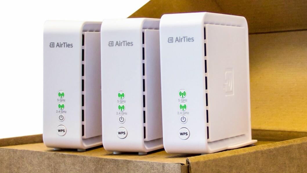 Alle gode ting er tre? Du vil i alle fall få eit suverent Wi-Fi-nett med betre hastigheit, stabilitet og rekkevidde om du oppgraderer en vanleg router med ei mesh-pakke frå AirTies.
