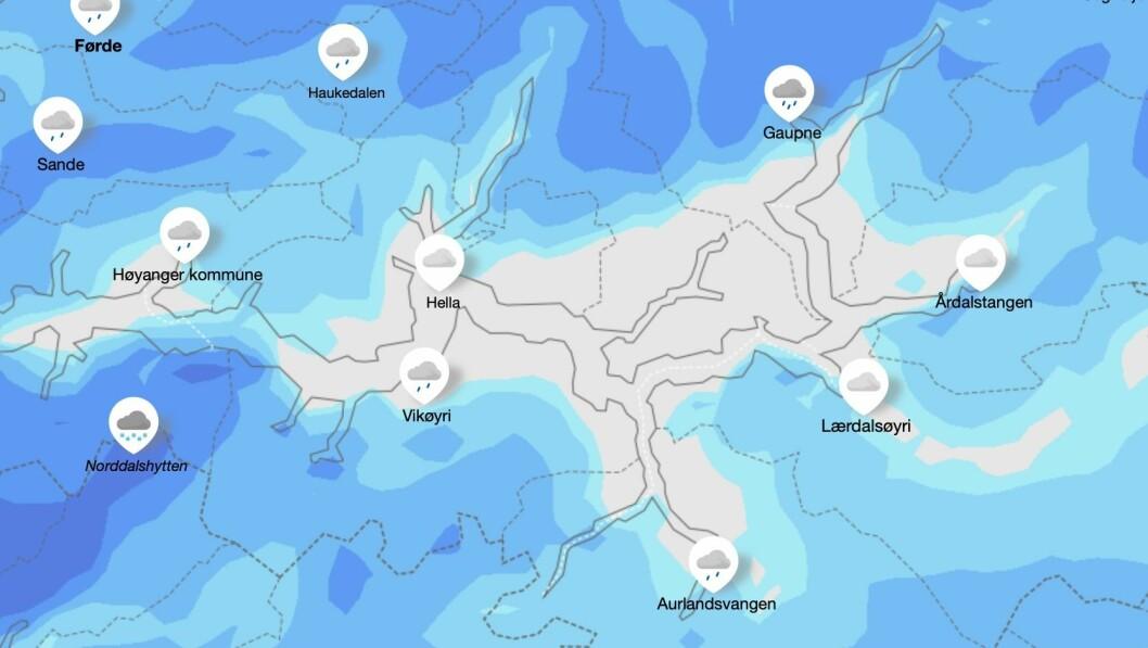 Slik ser Meteorologisk institutt sitt vêrkart ut for natt til fredag.