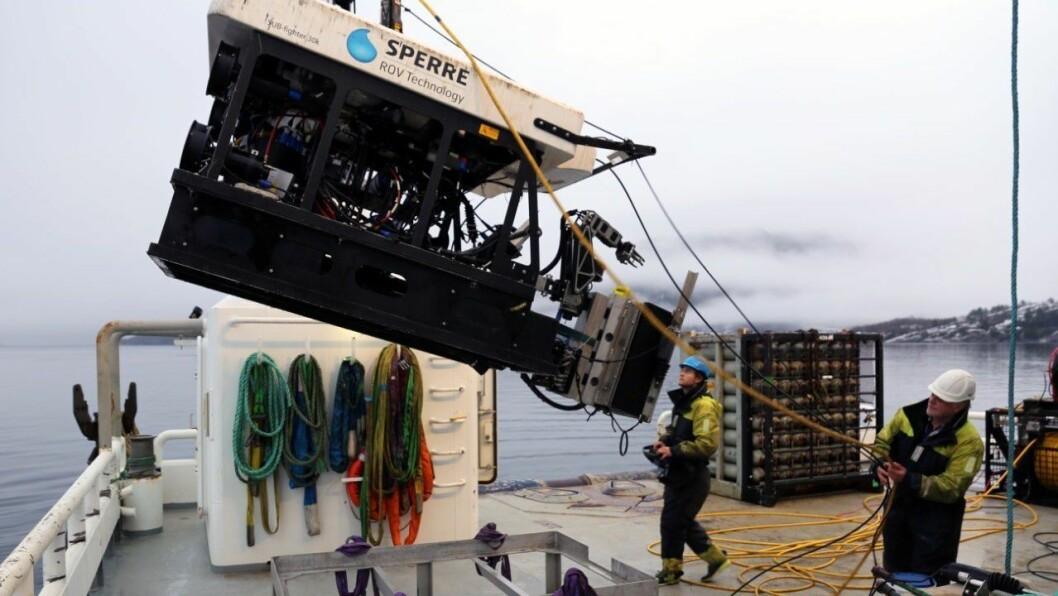 NY TEKNOLOGI INNAN OPPDRETTSNÆRINGA: Denne fjernstyrte miniubåten, kalla ROV, kan bore 500 meter ned under vassoverflata.