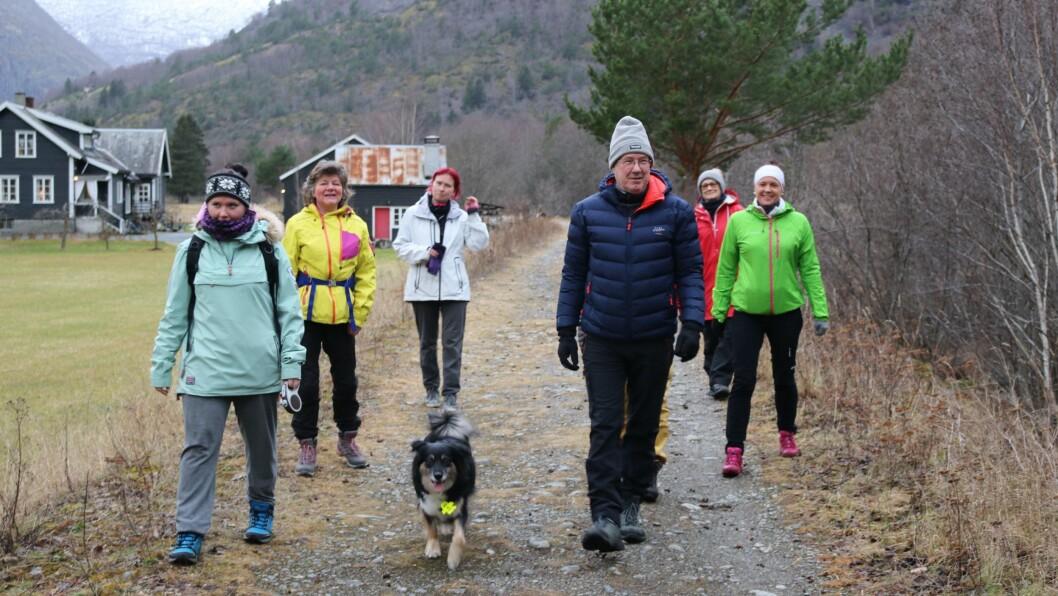 STØ KURS: Heile gjengen i stø kurs nedover elvebredden i Lærdal. Arne Johnsen i front.